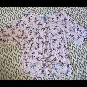 Flowy floral tie knot top